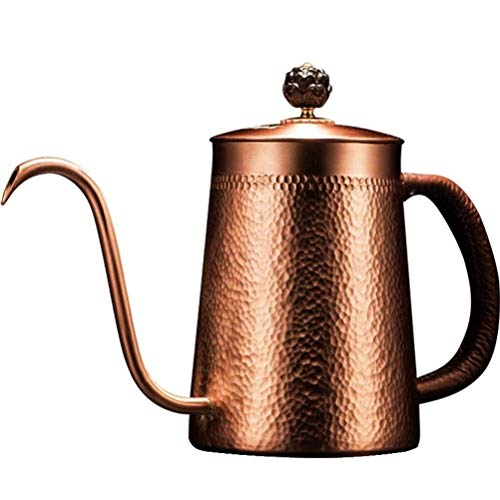 ZXvbyuff Gooseneck gießen Kaffee Kettle Premium Grade Edelmetalle Drip Kessel for Haus Kaffee brauen, Tee, Barista (Glossy Kupfer, Glühplattenherd)