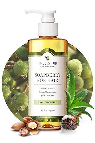 Fragrance Free Shampoo for Sensitive Skin by Tree To Tub – pH 5.5 Balanced Unscented Shampoo with Organic Moroccan Oil, Wild Soapberries 8.5 oz