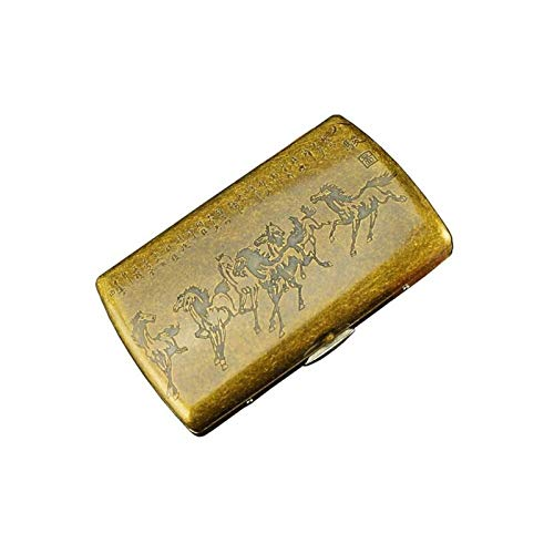 Auoeer Caso de Cigarrillos, Cobre Paquete de 12 Cigarrillos Caja, de Acero del Metal del Cigarrillo de Clip Box, Ocho Caballos, Anti-presión (Color: Oro)