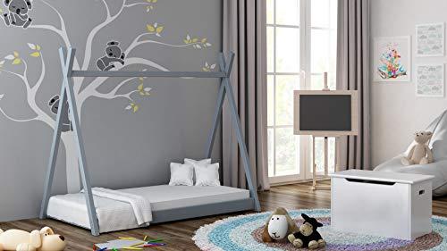 Tipi kinderbed kinderkamer tent bed massief hout 5 kleuren 190x80 cm grijs