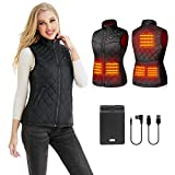 PETREL Heated Vest for Women with Battery Pack Electric Rechargeable Heated Coat Black