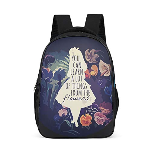 Girl with Flower - Mochila Escolar Ligera, diseño de Alice Alles Gris...