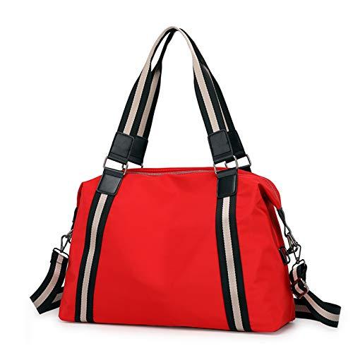 POPOTI Bolso Bandolera Mujeres, Bolsas de Hombro Mano Nylon Impermeable Totalizador del Monedero Mochila Escolar Portátil Billetera Multifuncional Crossbody Bag (Rojo Rosa)