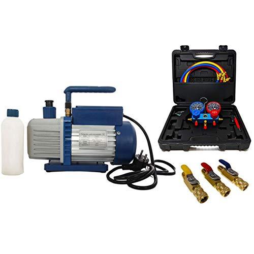 Vakuumpumpe Unterdruckpumpe 42L inkl. Monteurhilfe R32 + Kugelventile auch für R410a geeignet[Gleicher Druckbereich wie bei R32]