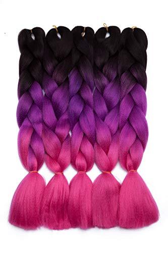 5 pacchi Ombre Braiding Hair estensione dei capelli Jumbo intrecciare l estensione dei capelli per Crochet Capelli sintetici intrecciati Nero a rosa pesca