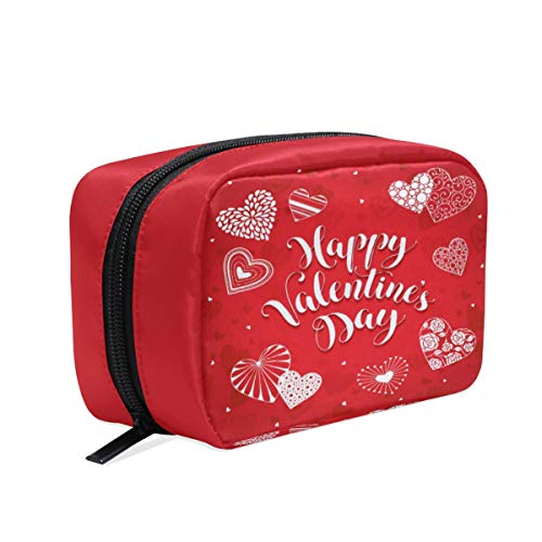 Trousse de Maquillage pour Femme avec Motif cœur Rouge et Blanc - Trousse à Crayons - Trousse de Toilette de Voyage avec Fermeture éclair