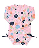 RuffleButts Baby/Toddler Girls Bouncing Blooms One Piece Rash Guard - 18-24m