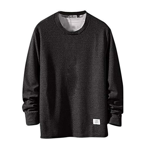 Xmiral Sweatshirts Herren Einfarbig Herbst Mode Langarmpullover mit Rundhals Patchwork Tops Sportbekleidung Große Mode Hemd(Schwarz,XL)