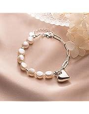 RuaRua Pulseras para mujeres, pulseras infinitas, ajustables, plata de ley 925, perla barroca dulce, pulsera de cadena de corazón para mujeres, joyería de boda de plata de ley