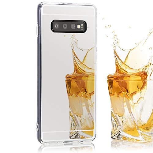 NALIA Spiegel Hülle kompatibel mit Samsung Galaxy S10, Ultra-Slim Handyhülle Mirror TPU Silikon Hülle, Dünne Schutz-Hülle Back-Cover Verspiegelt, Handy-Tasche Bumper Smart-Phone Etui, Farbe:Silber