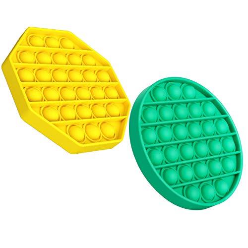 Ideal Swan Pop Pop Bubble Sensory Fidget Toys, Empuje Burbuja Juguete Sensorial Autismo Necesidades Especiales Alivio del Estrés Juguetes Educativos para niños, 2 Piezas (Verde + Amarillo)