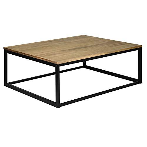 Mesa de Centro o Auxiliar iCub 70x80x37cm Negra en Madera de Pino Maciza Acabado Vintage Estilo Industrial Box Furniture