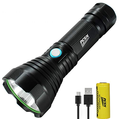 High Lumen USB Rechargeable Flashlight Powerful LED Torch with Long Range Throwing, Portable Flash Light with 4 Modes Super Bright Searchlight Best for Outdoor/Home Emergency - 26650 Battery Powered