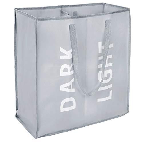 Eono Amazon Brand Doble Bolsas Cestos para la Colada, Gran Servicio de lavandería, Plegable Bolsa de Lavado de Ropa Bin (Gris)