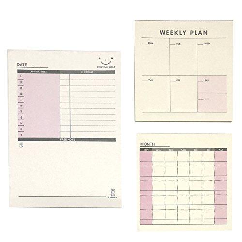 スケジュール メモ 週間 月間 チェックリスト 仕事 プラン メッセージ メモ帳 カード ノート しっかり 管理 徳用 3個 セット