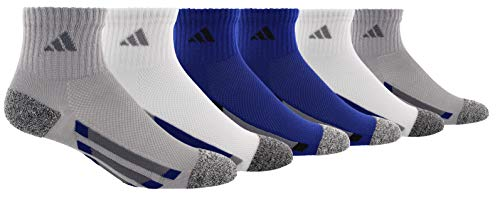 adidas Youth Kids-Boy's/Girl's Cushioned Quarter Socks (6-Pair), Light Onix/ Black - White Marl/ Onix/ Mystery Ink Blue, Large