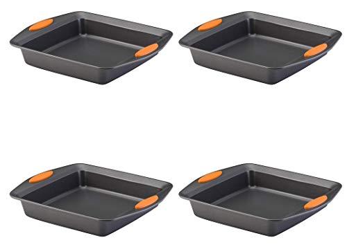 Rachael Ray 54074 Yum -o! Nonstick Bakeware Baking Pan/Nonstick Cake Pan, Square – 9 Inch, Gray, Pack 4
