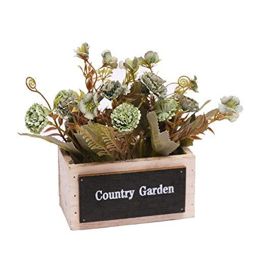 Maceta de flores de simulación,Mini plantas de bonsái falsas,Flores artificiales y plantas verdes Adornos de plástico para la decoración del interior del hogar al aire libre Verde 18*15*15.5cm