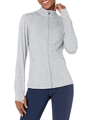 Amazon Essentials Brushed Tech Stretch Full-Zip Jacket Sweaters, Grey Space Dye, US S (EU S - M)