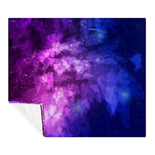 AMEILI Manta de tamaño – para todas las estaciones, ligera y afelpada hipoalergénica – mantas de microfibra para cama, sofá o viaje (152 x 203 cm), cielo estrellado púrpura galaxia