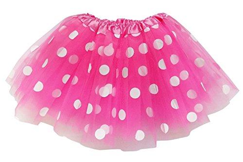 So Sydney Kids, Adult, or Plus Size Polka DOT Tutu Skirt Halloween Costume Dress (M (Kid Size), Hot Pink & White Mouse)