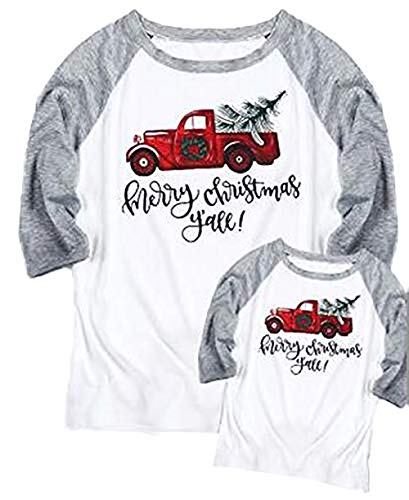 Mommy and Me Merry Christmas Y'all Baseball T-Shirt Women 3/4 Sleeve Family Matching Tee Tops Size Kid 2T (Gray)