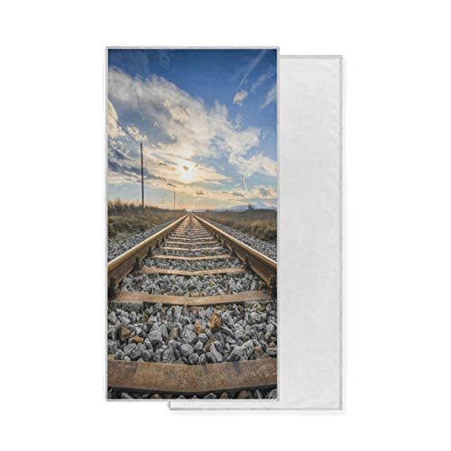 Gant de Toilette Ultra Doux Gant de Toilette Sunset Rail Track Serviette de Bain Multi-Usage hautement Absorbant