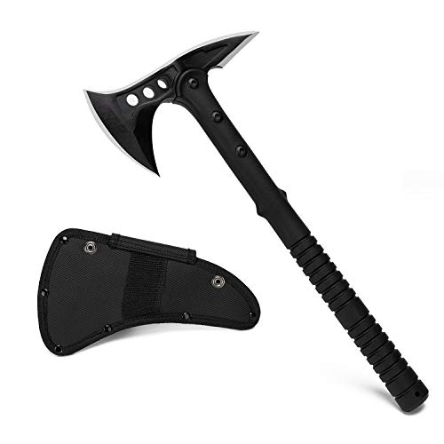 SUNFIRST Camp Axe Survival Tactical Hatchet with Sheath Tomahawk Throwing Axe with Spike Non-Slip Handle for Outdoor Survival Hiking Camping