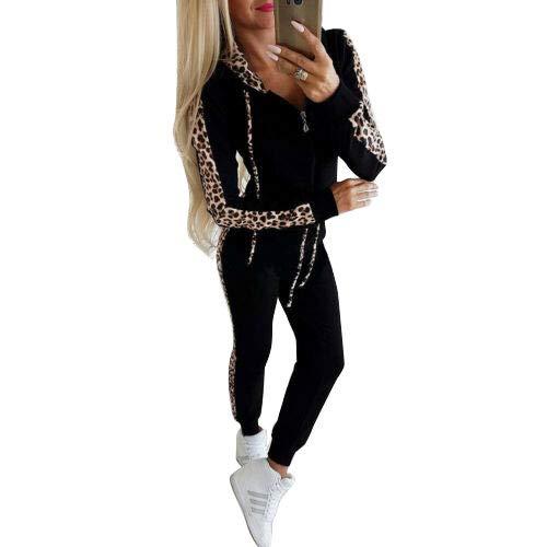 Frecoccialo Abbigliamento Sportivo Completo da Donna 2 Pezzi Tuta Intera a Maniche Lunghe con Cappuccio e Cerniera Top Felpa con Cappuccio + Pantaloni Sportivi con Stampa Leopardata Casual