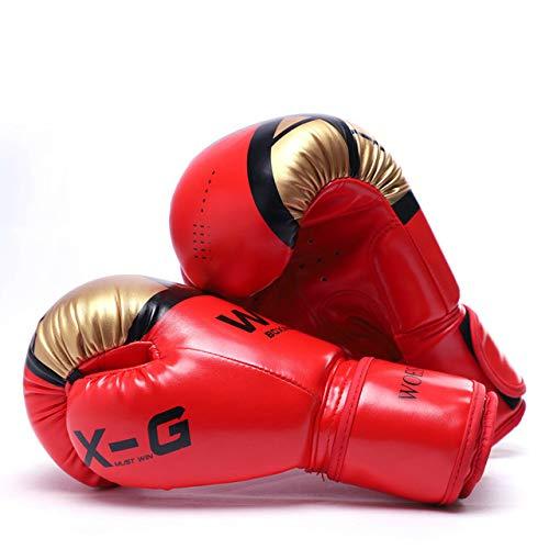 DJLHN Guantes de Boxeo para Hombres Karate Muay Thai Boxer Free Fighting MMA Sanda Training Guantes de Boxeo para niños Adultos - Rojo, 4 OZ4 OZ