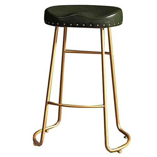 Taburetes de bar Taburete de mostrador Patas de metal doradas Taburete de mesa Ergonomia Asiento de PU Taburete de comedor Cocina Oficina Pub Montaje (Color: Verde, Tamano: Altura 65cm)Height 65cm