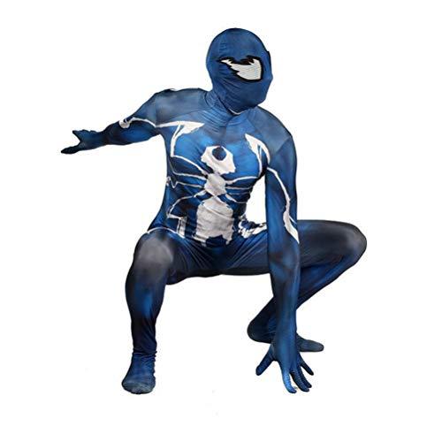 Niño Adulto Super Héroe Venom Venom Stretch Body, Spider-Man Spandex Cosplay Costume, Película del Partido de Carnaval de Halloween Onesies Masquerade Traje,Blue-Adults XL 165~175cm