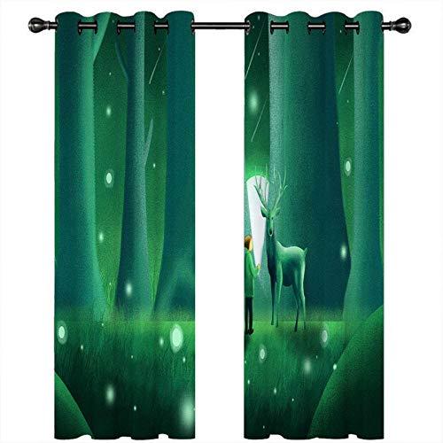 CLYDX Blickdicht Gardinen Grünes Kitz 100% Polyester Verdunkelungsvorhang Lärm Reduzieren Geeignet für Wohnzimmer Schlafzimmer Kinderzimmer 2 * 75 x 166 cm