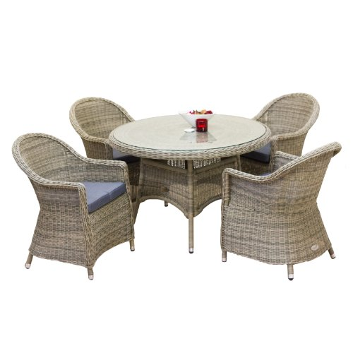 Oseasons Hampton Rattan 4 Seater Round Dining Table and Chairs