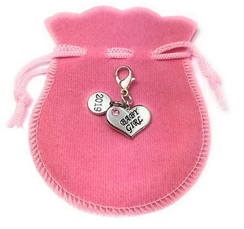 Forme de cœur bébé fille 2018 Charms à clip avec rose Sac cadeau à la main par Libby de place de marché