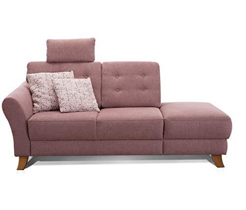 Cavadore Recamiere Trond mit Federkern / Modernes Sofa im Landhausstil mit Armteil links / Inkl. Kopfstütze und Rückenkissen / 194 x 89 x 92 / Flachgewebe rosa