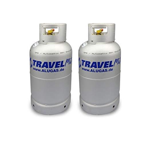 Toploo.de Dobbelte Multiventil Alugas Gas-Tankflasche Größe 11kg (27 Liter) mit Aussenfullset