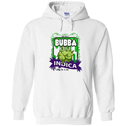 Pullover Hoodie Funny Bubba Kush 420 Strain Logo Cannabis 420 Pot Smoker Weed Marijuana Smoke Indica Pot Leaf Taking Hits from The Bong Hybrid Blunt High Joint Weed Sweatshirt