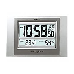 Casio Id-16s-8 Digital Auto Calendar Thermo Hygrometer Wall and Desk Clock with Indoor Temperature Blue Black Battery Included
