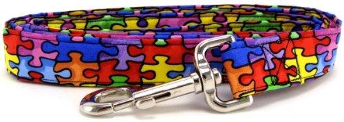 K9 Bytes Autism Awareness Puzzle Dog Leash, Small