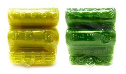 Blisters de Plástico Pack 500 Cartuchos para Monedas de 1 Euro y 50 Céntimos