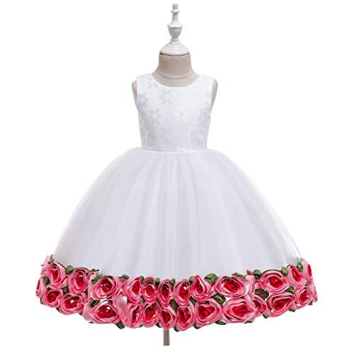 AIOJY Rose Puff Vestido sin Mangas 3D de Estaciones Chica Vestido de Boda del Florista de los nuevos niños del Hilado Chica del cumpleaños, Blanco,110cm