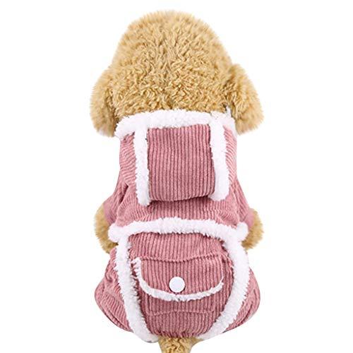 SOMESUN Cord Hundemantel Kapuzenmantel Winterjacke Sweatshirt Mit Kapuze Warm Mantel Jacke Hundeweste