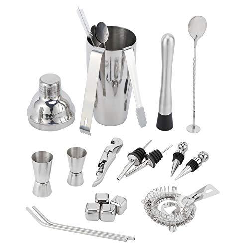 Coctelera, herramienta de camarero de acero inoxidable de grado alimenticio fácil de limpiar 22 piezas/juego 750 ml para camareros profesionales de bar