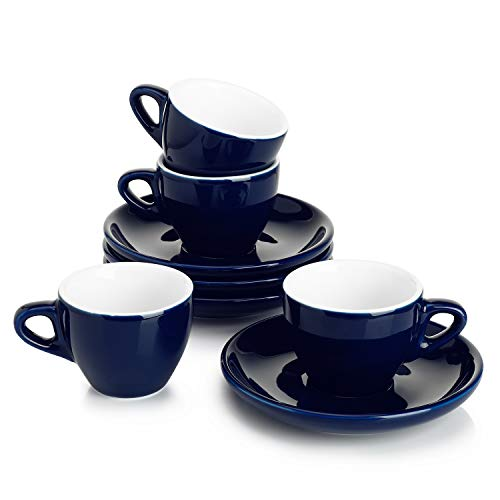 Sweese 403.414 Cappuccino Cup and Saucer Set, 6 Ounce Perfect for Specialty Coffee Drinks, Latte, Cafe Mocha and Tea, Matte Black
