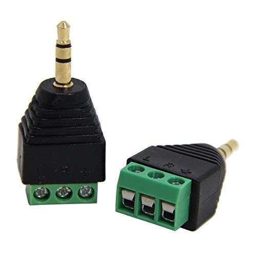 Ancable conector macho de 3,5 mm a terminal de tornillo, paquete de 2 unidades de 1/8 pulgada TRS macho a bloque de tornillo sin soldadura de 3 polos para cable AUX, altavoz y cable de auricul