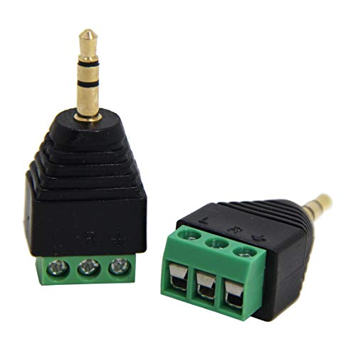 Ancable conector macho de 3,5 mm a terminal de tornillo, paquete de 2 unidades de 1/8 pulgada TRS macho a bloque de tornillo sin soldadura de 3 polos para cable AUX, altavoz y cable de auriculares