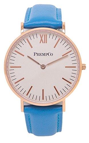 PrempCo - Nobel - Damen Armbanduhr - Elfenbeinweiß - Rosegold - Schnell-wechsel Uhren-Armband in Blau