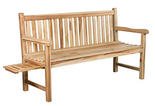 Trendy Home GmbH 3-Sitzer Teakbank 150 cm INKLUSIV 1 Tablett Massive Sitzbank Gartenbank Holzbank Banco de Madera de Teca de 3 plazas, Incluye 1 Bandeja, marrón