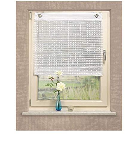 Ösen-Raffrollo Plisseefalten Voile Bedruckt, Weiß-Ohne Bohren Ösenrollo Hakenrollo Rollo (140 x 95 cm)